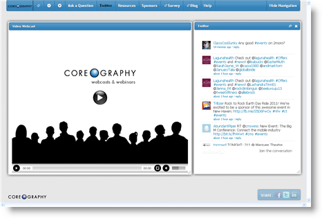 Coreography Webcast Player with Twitter